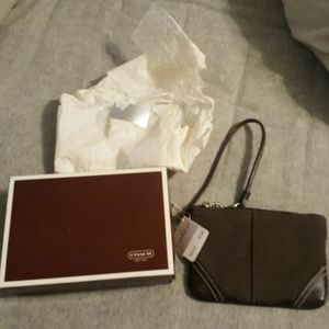 Coach brown wristlet